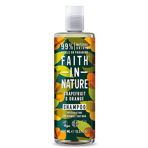 Σαμπουάν Μαλλιών με 'Γκρέιπφρουτ & Πορτοκάλι' - Κανονικά/Λιπαρά Μαλλιά (400ml) Faith in Nature