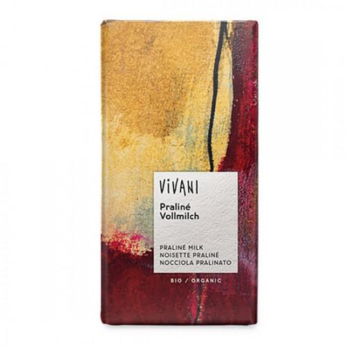 Σοκολάτα Γάλακτος με γέμιση Πραλίνα (100γρ) Vivani