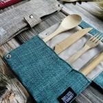 Σετ Μαχαιροπήρουνων & Καλαμάκι από Βιολογικό Μπαμπού σε Θήκη (Χρώμα Γαλάζιο) Jungle Straws