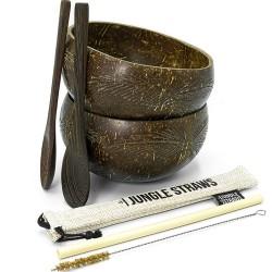 2 Μπολ Καρύδας με ΔΩΡΟ Ξύλινα Κουτάλια + Καλαμάκι Μπαμπού (Σχέδιο Φύλλα) Jungle Straws