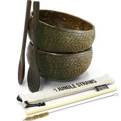 2 Μπολ Καρύδας με ΔΩΡΟ Ξύλινα Κουτάλια + Καλαμάκι Μπαμπού (Γεωμετρικό Σχέδιο) Jungle Straws