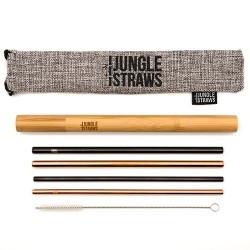 Ανοξείδωτα Καλαμάκια & Φορητή Θήκη Μπαμπού (4τμχ) Jungle Straws