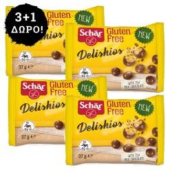 3+1 ΔΩΡΟ! Μπαλίτσες  Δημητριακών  με Επικάλυψη Σοκολάτας 'Delishios' Χωρίς Γλουτένη (37γρ) Dr. Schar