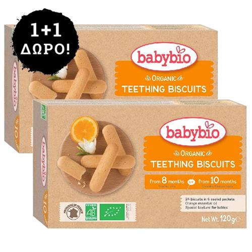 1+1 ΔΩΡΟ! Μπισκότα Οδοντοφυΐας +10μ (2x24τμχ) Babybio