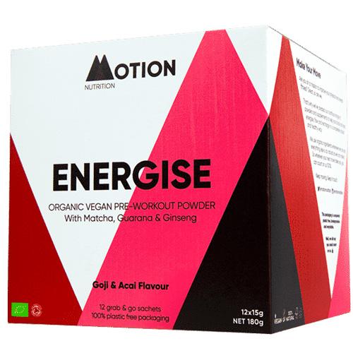 Vegan Συμπλήρωμα 'Energise' για Eνέργεια Πρίν την Προπόνηση (180γρ) Motion Nutrition