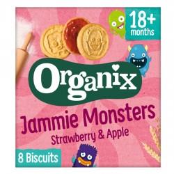 Μπισκότα Γεμιστά με Μαρμελάδα Φράουλα & Μήλο 'Jammie Monsters' +18μ (64γρ) Organix