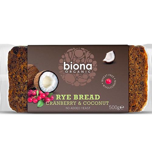 Ψωμί Σίκαλης Ολικής με Κράνμπερυ & Καρύδα (500γρ) Biona