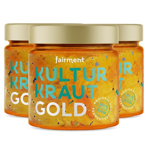 3 x Κίμτσι με Λευκό Λάχανο & Κουρκουμά 'Gold' - 'Ωμό & Απαστερίωτο (3x330γρ) Fairment