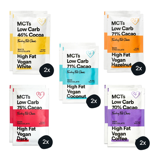 10 x Keto Σοκολάτες με MCTs σε 5 Γεύσεις - Χωρίς Γλουτένη/Ζάχαρη (10x50γρ) Funky Fat Choc