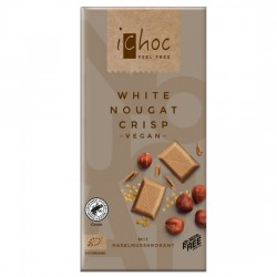 Vegan Λευκή Σοκολάτα με Νουγκατίνα & Καραμελωμένα Φουντούκια (80γρ) iChoc Vivani
