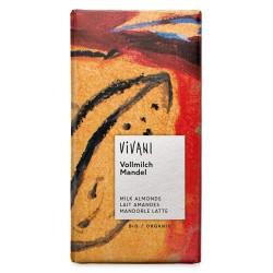 Σοκολάτα Γάλακτος με Ολόκληρα Αμύγδαλα (100γρ) Vivani
