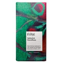 Σοκολάτα Γάλακτος με Ολόκληρα Φουντούκια (100γρ) Vivani