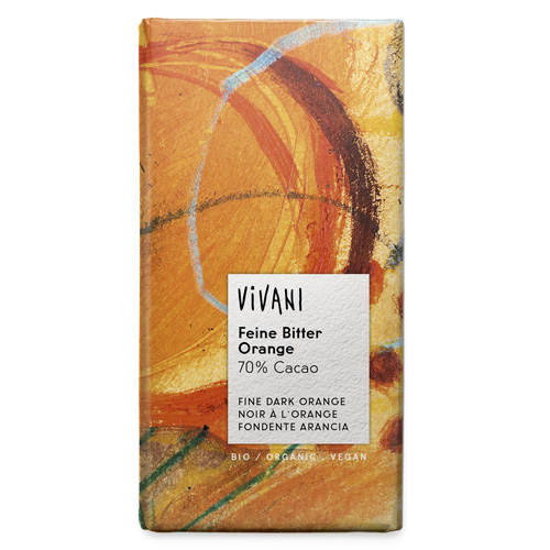 Μαύρη Σοκολάτα με Πορτοκάλι (100γρ) Vivani