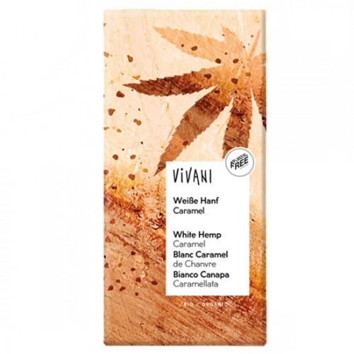 Λευκή Σοκολάτα με Καραμελωμένους Σπόρους Κάνναβης (80γρ) Vivani