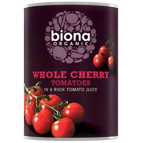 Τοματίνια Cherry σε Χυμό Τομάτας (400γρ) Biona