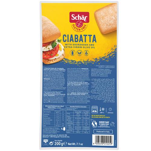 Ψωμάκια Τσιαπάτα 'Ciabatta' Λευκά Χωρίς Γλουτένη/Λακτόζη (200γρ) Dr. Schar