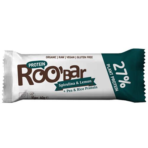 Vegan/Ωμή Μπάρα Πρωτεΐνης με Σπιρουλίνα κ' Λεμόνι (40γρ) Roobar