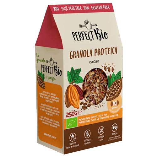 Ωμή Γκρανόλα Πρωτεΐνης με Κακάο - Χωρίς Γλουτένη/Ζάχαρη (250γρ) Perfect Bio