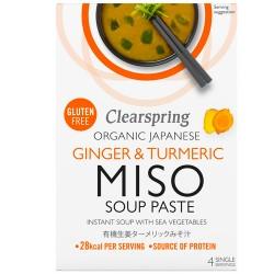 Σούπα Στιγμής με Πάστα Miso 'Τζίντζερ & Κουρκουμά' (4 μερίδες) Clearspring