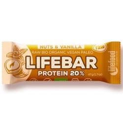 Ωμή Μπάρα Πρωτεΐνης με Φουντούκια κ' Βανίλια - Lifebar (47γρ) Lifefood