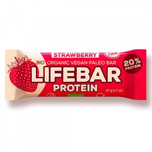 Μπάρα Ενέργειας Φράουλα με Πρωτεΐνη Lifebar (47γρ) Lifefood